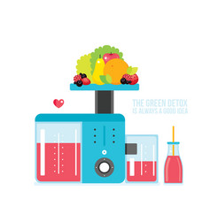 Fresh organic juice smoothie bottle and kitchen vector