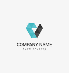 geometric v logo vector image