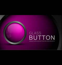 Glass pink button vector