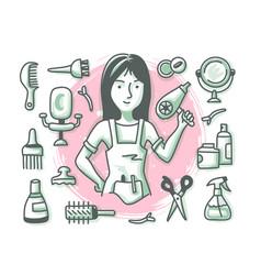 Hairdresser doodle profession vector