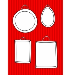 Hand drawn decorative frames set on stripes wall vector image