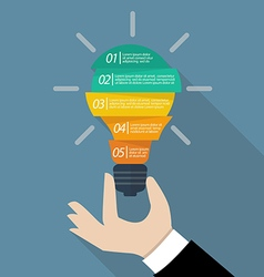 Hand holding light bulb infographic vector