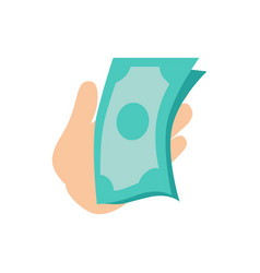 hand holding money banknotes vector image