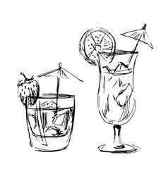 Hand sketch summer drinks vector