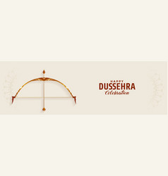Happy dussehra festival wide banner with bow and vector