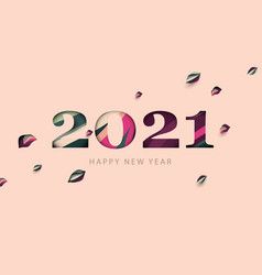 happy new year 2021 with falling leaves paper cut vector image