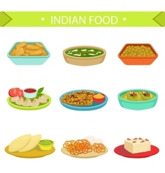 Indian Food Famous Dishes Set vector image