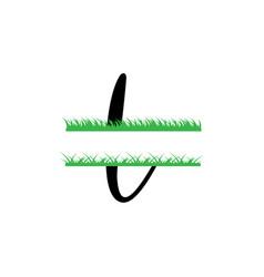 Initial l grass monogram split letter isolated vector