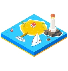 Isometric island with ship yacht and sea vector image vector image