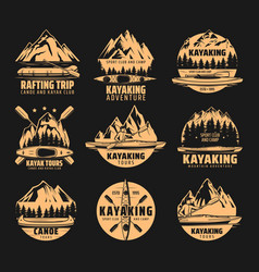 kayaking rafting club and canoe sport icons vector image