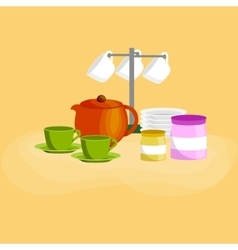 Kitchen household cutlery clean teacups and white vector image vector image