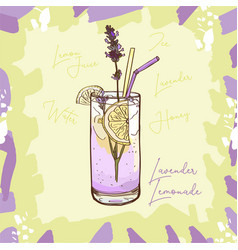 lavender lemonade homemade classic in glass cup vector image