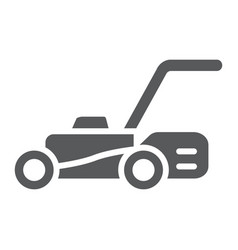 Lawn mover glyph icon equipment and garden vector
