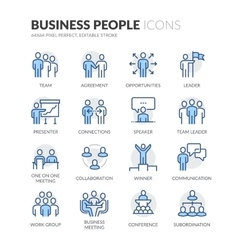 Line Business People Icons vector