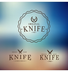 logo with a set of knives on abstract background vector image