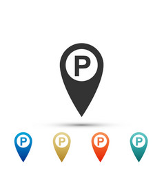 map pointer with car parking sign isolated vector image
