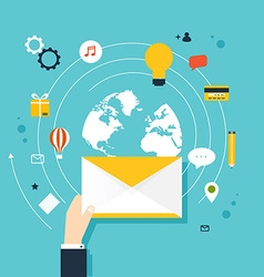 Marketing Concept of running email campaign email vector image