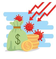 Money bag and icons economic impact covid vector