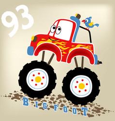 Monster truck with a little bird cartoon vector