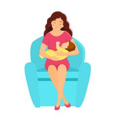 Mother breastfeeding baby flat style vector