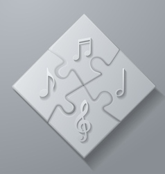 Music Notes on White Puzzle Background vector image