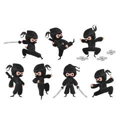Ninja character cute cartoon fighter with sword vector