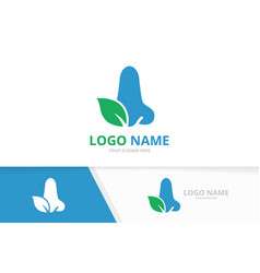 Nose and leaf logo combination ent clinic vector