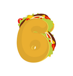 Number 6 tacos mexican fast food font six taco vector