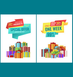 one week discount special offer festive banners vector image