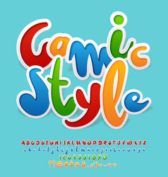 Original font with text comic style vector