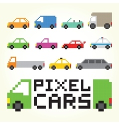 Pixel art cars isolated set vector image vector image