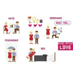 Pixel art style love vector