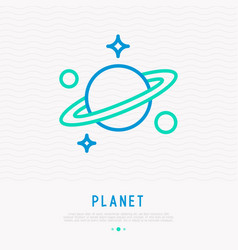 planet with thin line icon vector image