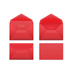 Realistic red envelope set on white vector