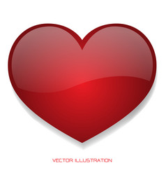 Red heart glossy 3d on isolated background vector