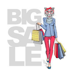 Retro hipster animal girl cheetah big sale vector