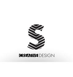S lines letter design with creative elegant zebra vector
