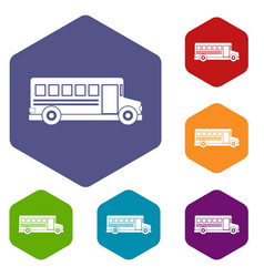 School bus icons set hexagon vector