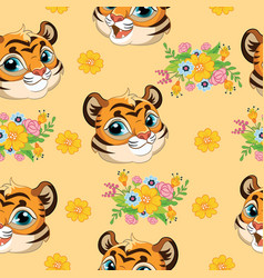 Seamless pattern with tigers heads and flowers vector
