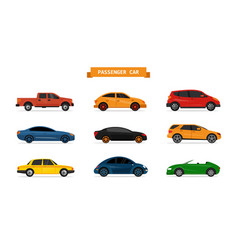 set different cars isolated on white vector image