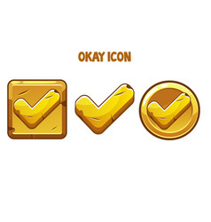 Set gold icons okay with a check mark vector