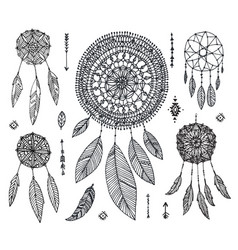 set hand drawn dream catchers isolated vector image