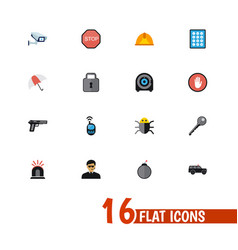 set of 16 editable safety icons flat style vector image