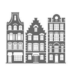 Set of 3 shape holland old houses facades vector