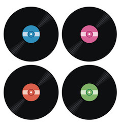 set of music retro vinyl record icons vector image