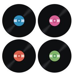 set of music retro vinyl record icons vector image