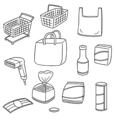 set of shopping icon vector image