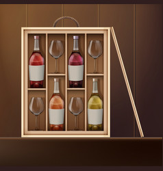set of wine vector image