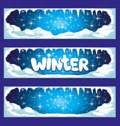 set of winter banners with icicles and snow vector image