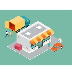 Shop and delivery isometric 3d top side view vector image
